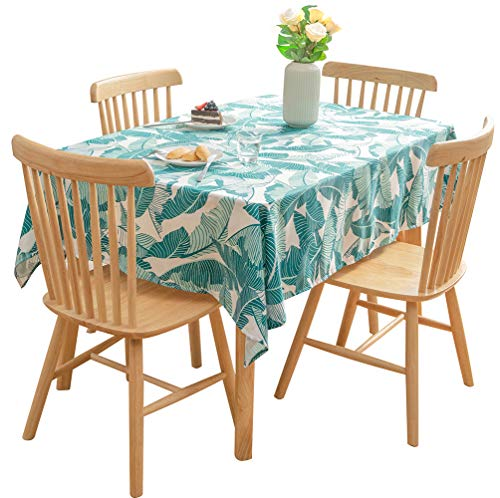 (Nobildonna Tropical Leaves Rectangle Tablecloth Elegance Dining Table Cover Easy Care Polyester Luxurious Print Holiday Dinner Party Tablecloths- 55x72—Inch)