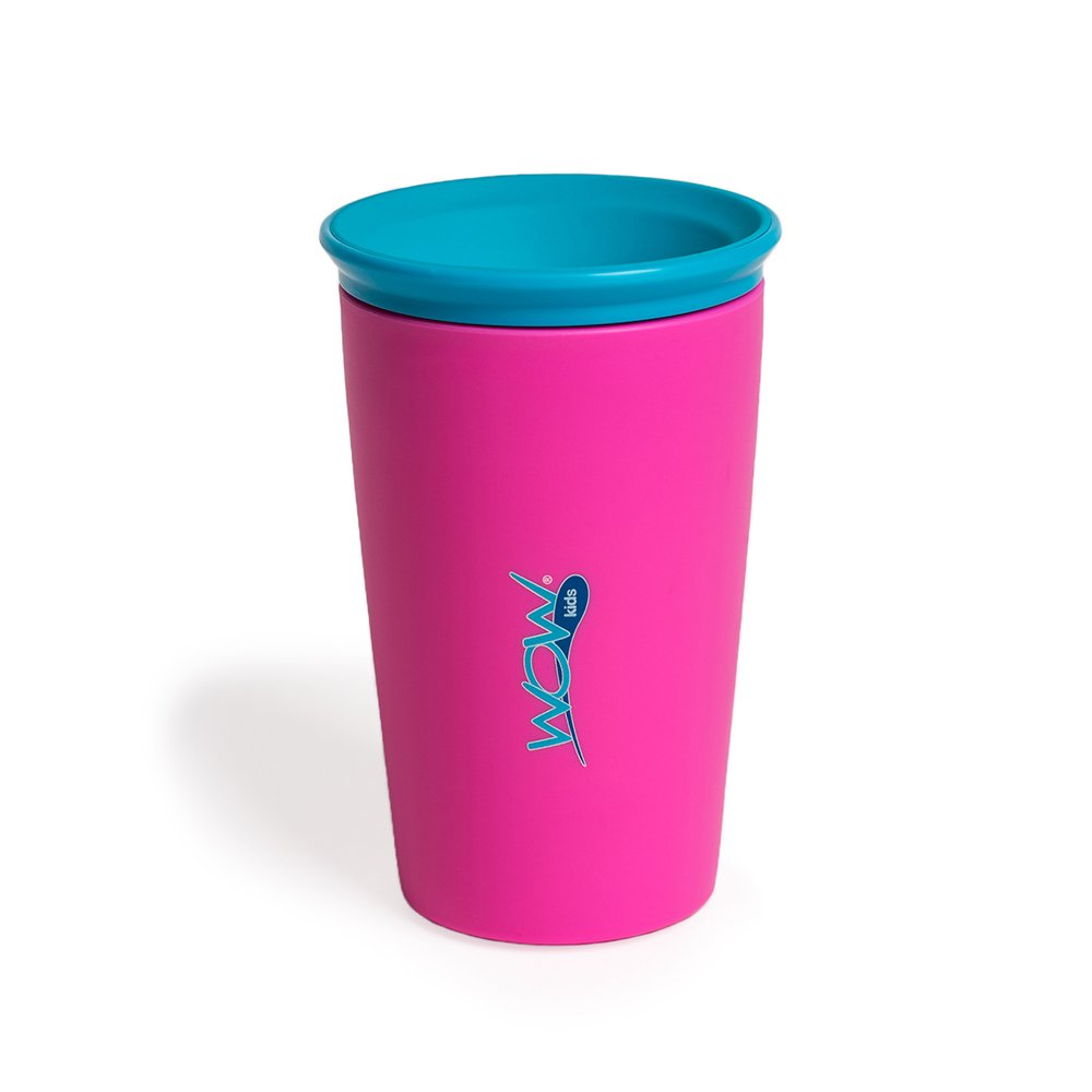 Wow Cup for Kids Original 360 Sippy Cup, Pink with Blue Lid, 9 oz