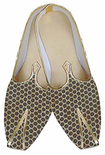 Wedding Brocade MJ0026 Circle Design Shoes INMONARCH Beige Mens 68tEnTxwq4