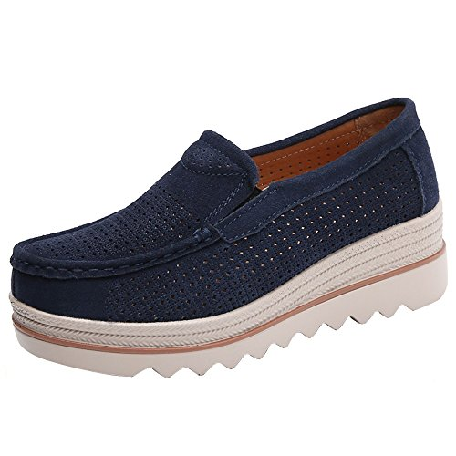 Women Flats Lace-up Muffin Creepers Moccasins Sneakers Leather Casual -