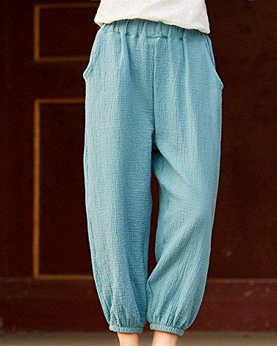 Assez Airy Pants Elegant Casual Pluderhose Unicolor Women Pantalon Taille Confortable Elastische Summer Haidean Large Blanc Harem Long gwx7F6B