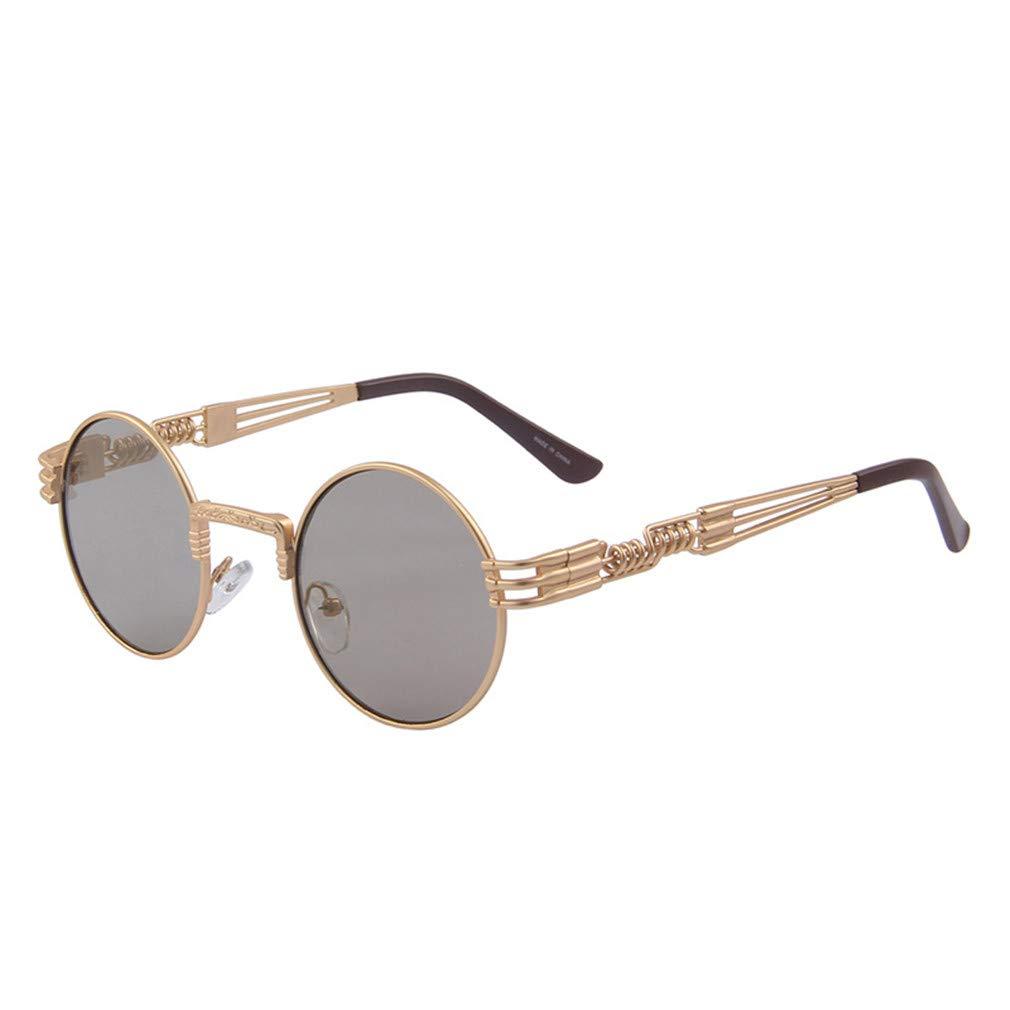 8760104d34f Amazon.com  Women Steampunk Sunglasses Men Retro Round Sunglasses Metal Sun Glasses  Men Oculos De Sol UV400 C01 Black  Sports   Outdoors