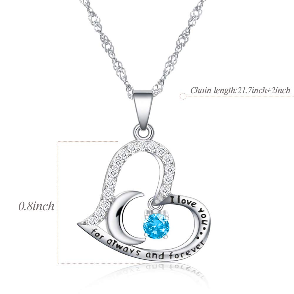 Stainless Steel Womens Blue Zircon Heart Necklace Funny 51st Birthday Gifts for Women 51 Year Old Birthday Gifts for Women 51st Birthday Gifts for Women