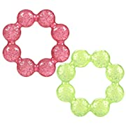 Nuby Pur Ice Bite Soother Ring Teether, 2 Count - Pink/Green