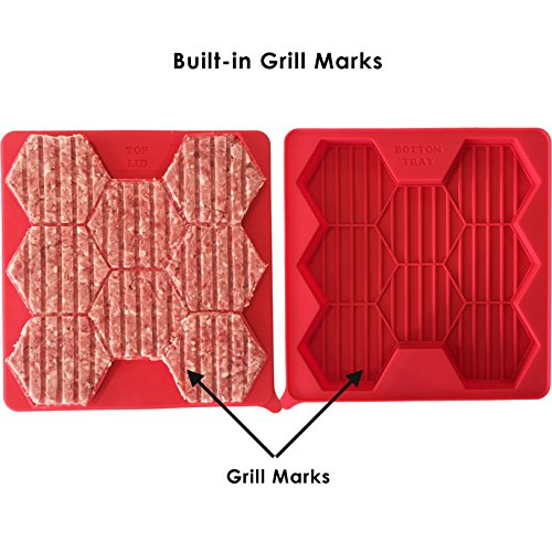 Access BURGER DASH Silicone Burger Press and Freezer Container, Built-in Grill Marks, 8 in 1 Patty Maker for Sausage Patties, Hash Browns, Chili (Red) wholesale