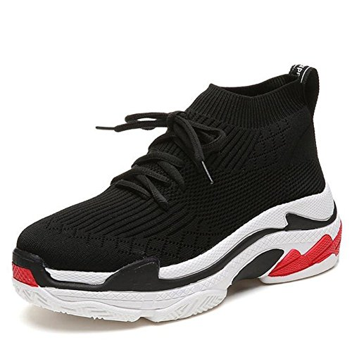 Black Flying Black Outdoor Shoes Shoes Shoes Comfortable Red Women's Athletic Sneakers Shoes Casual Weaving Breathable Cloth Air GAOLIXIA qTZtPwxfA