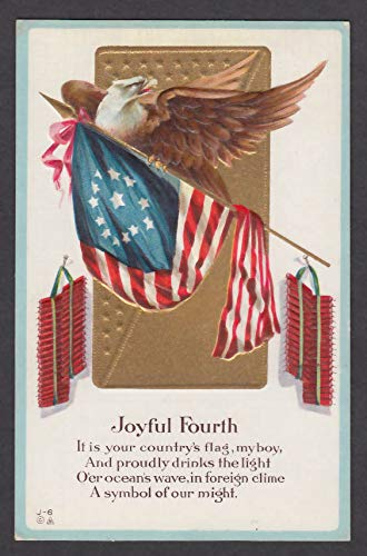 Joyful Fourth of July embossed postcard 1910s Old Glory Bald Eagle Firecrackers