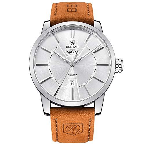 BENYAR Classic Fashion Elegant Watch Casual Sport Leather Band Wrist Mens Watches(White)