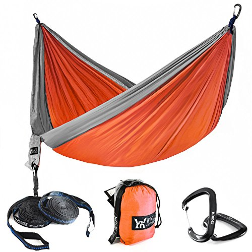 "Winner Outfitters Double Camping Hammock With Tree Straps - Lightweight Nylon Portable Hammock, Best Parachute Double Hammock For Backpacking, Camping, Travel, Beach, Yard, Orange/Grey, 78""W x 118""L"