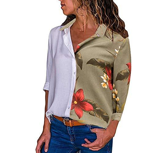 Imprim Chemise Longue Couleur Floral Button Chemisier Top Femme Multicolore V Classique Guesspower Verte de Manches Top Chic Mode Arme Chemisier Blouse Col Bloc C0x8wwnvq