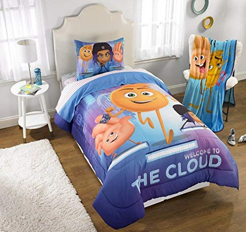 D.I.D. 2 Piece Kids White Purple Blue Emoji Movie Comforter Twin/Full Set, Gene Addie Emoticon Bedding Hi-5 Face Icons Characters Funny Humor Hashtags Children, Polyester