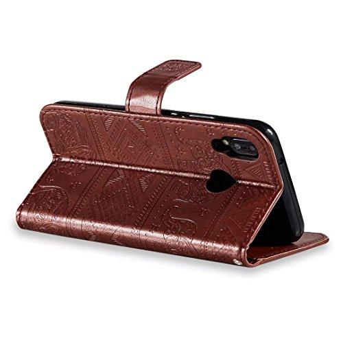 COWX Huawei P20 Lite Hülle Flip Brieftasche PU Leder Schutzhülle für Huawei P20 Lite Tasche Elefant (Braun) 66jCor7t
