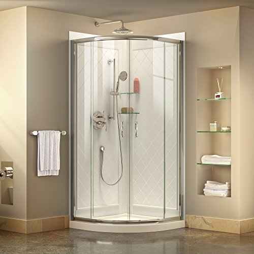 DreamLine Prime 38 in. x 76 3/4 in. Semi-Frameless Clear Glass Sliding Shower Enclosure in Chrome with White Base and Backwalls