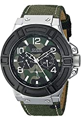 GUESS W0407G1,Men's Rigor Standout Multi-Function,Casual Camouflage Print.Genuine Leather-Backed Strap,Day & Date