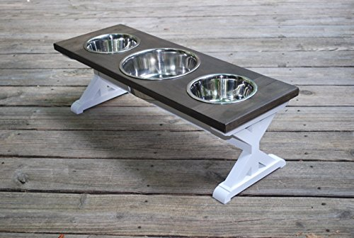 Medium Three Bowl Farmhouse Dog Bowl Stand by BillsCustomBuilds
