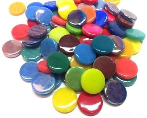 25 Bright Medley Mix Penny Rounds Recycled Glass Gems Round Shape Mosaic Tiles (Glass Shapes Gems)