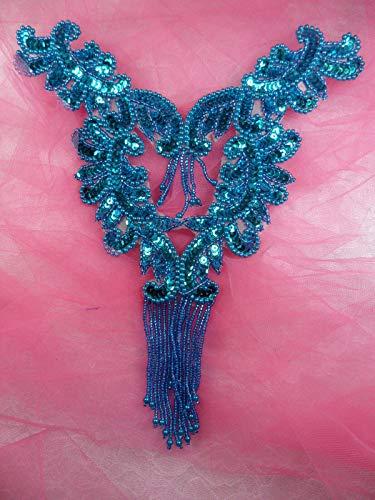 Turquoise Blue Bodice Yoke Sequin Beaded Applique Sewing Patch Motif 10 DSKZZ-573