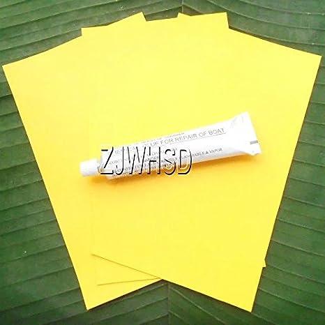 3pcs 12 x 20 cm amarillo PVC parche + pegamento para kayak y canoa hinchable barco balsa Abbott de reparación de agua juguete