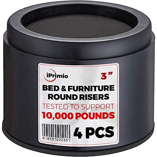 "iPrimio Bed and Furniture Risers – 4 Pack Round Elevator up to 3"" & Lifts Up to 10,000 LBs - Protect Floors and Surfaces – Durable ABS Plastic and Anti Slip Foam Grip – Non Stackable – Black"