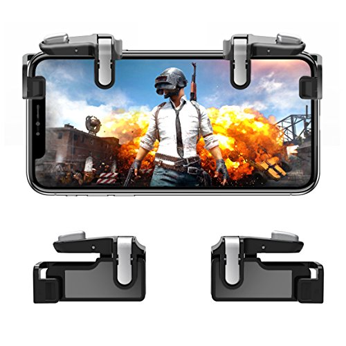 (Mobile Game Controller【Upgraded Version】- PUBG/Knives Out Mobile Controller,Hill & Wood Sensitive Shoot and Aim Triggers for L1R1 Mobile Game Trigger Joystick for Android/iOS.)