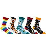Socks Cotton Colorful, diwollsam 5 Pairs Wedding Fun Hamburger Themed Cartoon Dress Socks