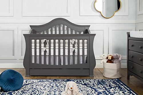 Million Dollar Baby Classic Ashbury 4-in-1 Convertible Crib with Toddler Bed Conversion Kit, Manor Grey by Million Dollar Baby Classic (Image #1)