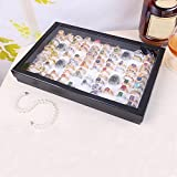 Barhalk 100 Slot Jewelry Ring Tray Paper/Cardboard/Velvet Clear Lid Rings Holder Showcase Display Storage Organizer Cover Casual Use
