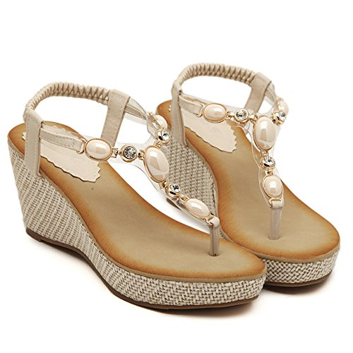Sandals With Thirty Shoes And Shoes Toes Pinched Nine Women'S Beige Girl Sweet Slope KPHY w8X4fRxf