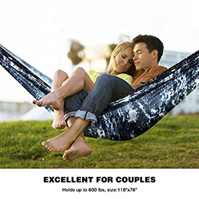 Canway Double Outdoor Hammock-Travel Camping Lightweight Hammock Portable- Parachute Nylon Hammock for Backpacking travel-with Tree Straps