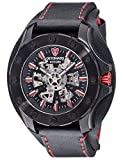DETOMASO ROTORE Mens XXL Watch Automatic Black/Red Analog Stainless Steel Case Leather Strap DT2061-A