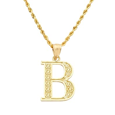 lovebling 10k yellow gold diamond cut a to z alphabet initial letter charm necklace pendant
