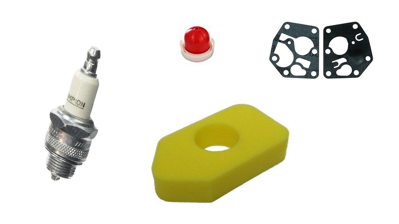 Briggs & Stratton Set Filtro de Aire + Bujía + Carburador Membrana + Primer Bomba para Briggs & Stratton 698369. Classic Sprint 795083694394 Ratioparts