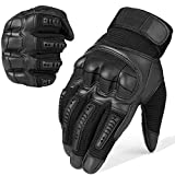 JIUSY Army Military Tactical Touch Screen Rubber Hard Knuckle Full Finger Gloves for Combat Motorcycle Motorbike Hunting Hiking Airsoft Paintball Riding Size Black Large