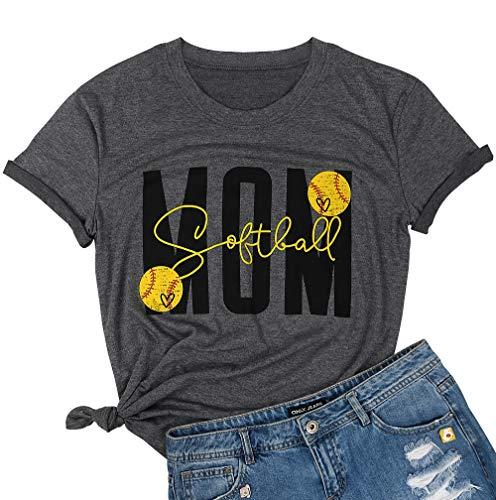 Softball Mom T Shirt Top Women Softball Sports Shirt Cute Graphic Print Short Sleeve Shirt Tee Size XL (Gray) ()