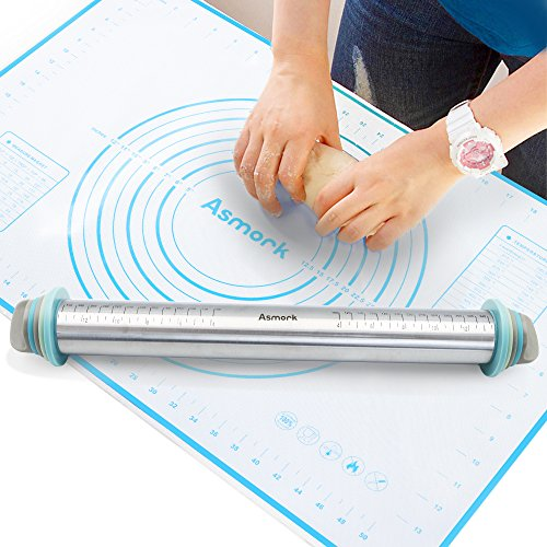 Asmork Rolling Pin,Silicone Baking Mat,Adjustable Stainless Steel Rolling Pins Dough Roller with 4 Removable Thickness Rings for Baking Dough, Pizza, Pie, Pastries, Pasta and Cookies (3)