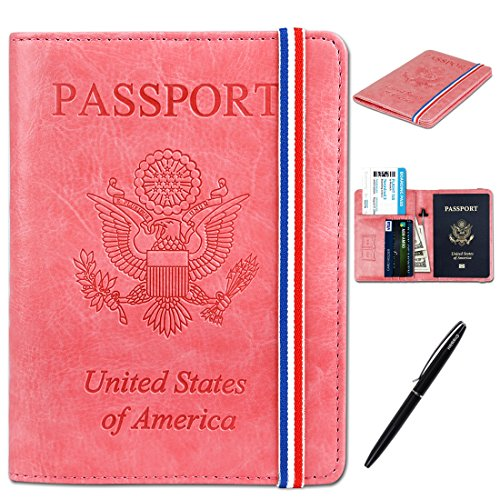 RFID Passport Holder Cover-Travel Wallet Card Case for Women&Man With Bonus Pen (Hot ()
