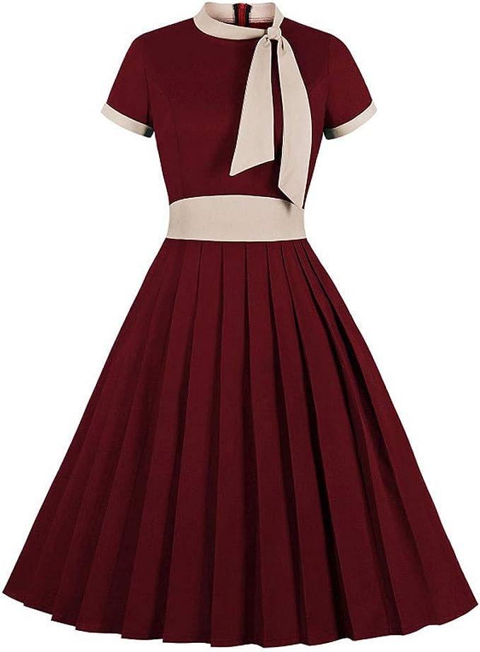 Zottom - Vestido elegante de manga corta para mujer, con corbata y ...