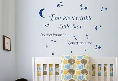 Twinkle Twinkle Little Star Wall Art Vinyl Stickers - Azure Blue ...