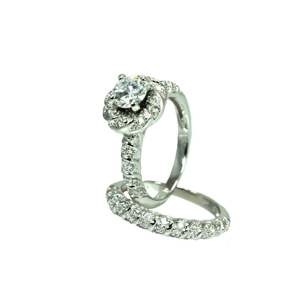 Princess Kylie Round Cubic Zirconia Center Flower Stackable Bridal Ring Rhodium Plated Sterling Silver