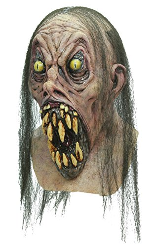 Possessed Demonish Teeth Scary Zombie Latex Adult Halloween Costume Mask (Hockey Mask Halloween Costume)