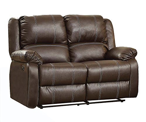 Acme Furniture ACME Zuriel Brown Faux Leather Reclining Loveseat