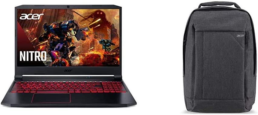 "Acer Nitro 5 Gaming Laptop, 10th Gen Intel Core i5-10300H, NVIDIA GeForce GTX 1650 Ti, 15.6"" Full HD IPS 144Hz Display, 8GB DDR4, 256GB with Acer Travel Laptop Backpack"