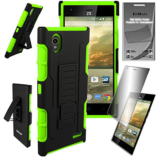 ZTE Warp Elite Case (N9518) Guardian Holster Combo Case with Belt Clip and Kickstand - Green by ElBolt TM with Free HD Screen Protector