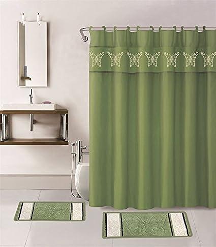 Gorgeous Home 15PC SAGE GREEN BUTTERFLY DESIGN BATHROOM BATH MATS SET RUG CARPET SHOWER CURTAIN HOOKS