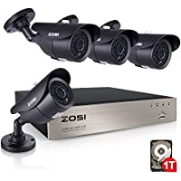 ZOSI 8 Channel 1080N HD-TVI Security DVR System with 1TB Hard Drive, 4pcs 1MP 720P outdoor waterproof 1200TVL Metal Cameras, 1080N DVR, and 120 Night Vision Support 3G/4G Moblie phone remote view