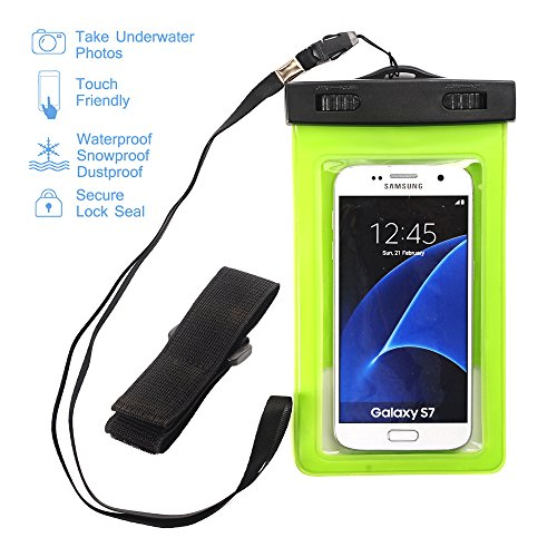 Universal Waterproof Case, SUMOON Clear CellPhone Dry Bag Pouch with Armband Neck Strap for iPhone 7 /7 Plus 6,6S Plus, Samsung Galaxy S8/S8 Plus , HTC LG Sony Nokia up to 5.5