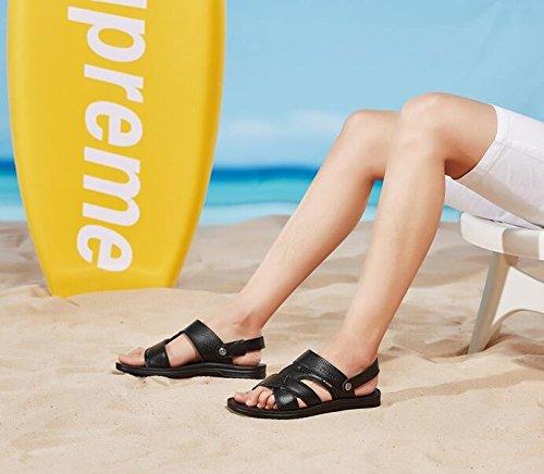LQV Strandschuhe Männer LederSandale Sommer neue Strandschuhe LQV weiche Sohlen Sandalen und Hausschuhe für Outdoor-Wandern schwarz a52867