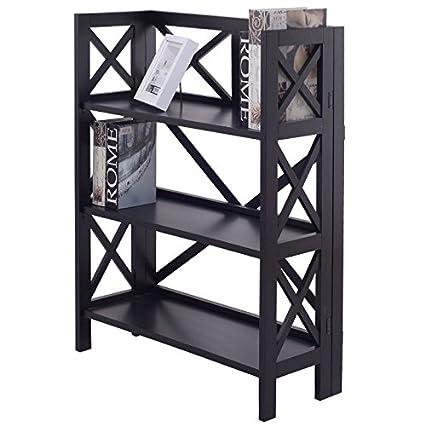 3 Layer Design Stacking Folding Bookshelf Bookcase Foldable Storage Shelf Rack Display Organizer Book Photo Frames