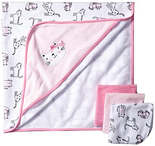 Rene Rofe Baby Baby 4 Piece Bath Set, Pretty in Pink Kitty, One Size (Hooded Cat Towel Baby)