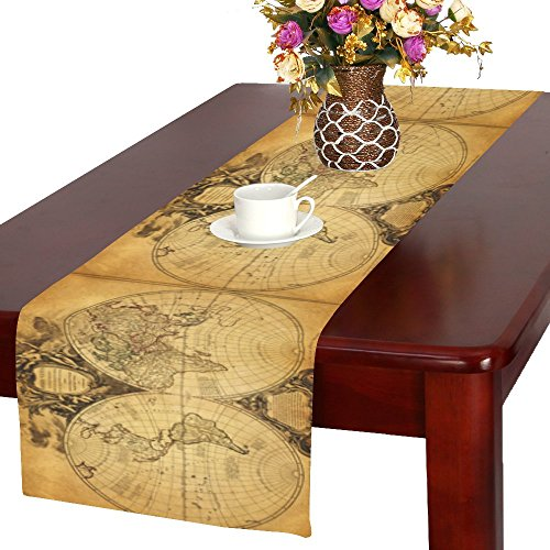 InterestPrint Retro World Map Long Table Runner 16 X 72 Inch